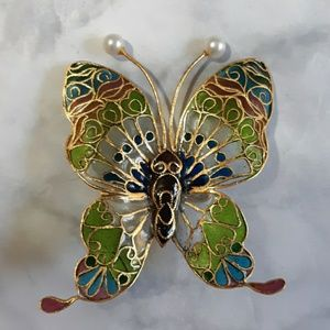 Vintage stained glass type butterfly  brooch